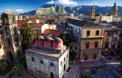 Italy, Sicily, Palermo district, Palermo, Mediterranean area, San Cataldo church and La Martorana