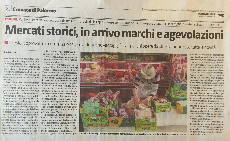 Mercati storici, Giornale di Sicilia 7 aprile 2015