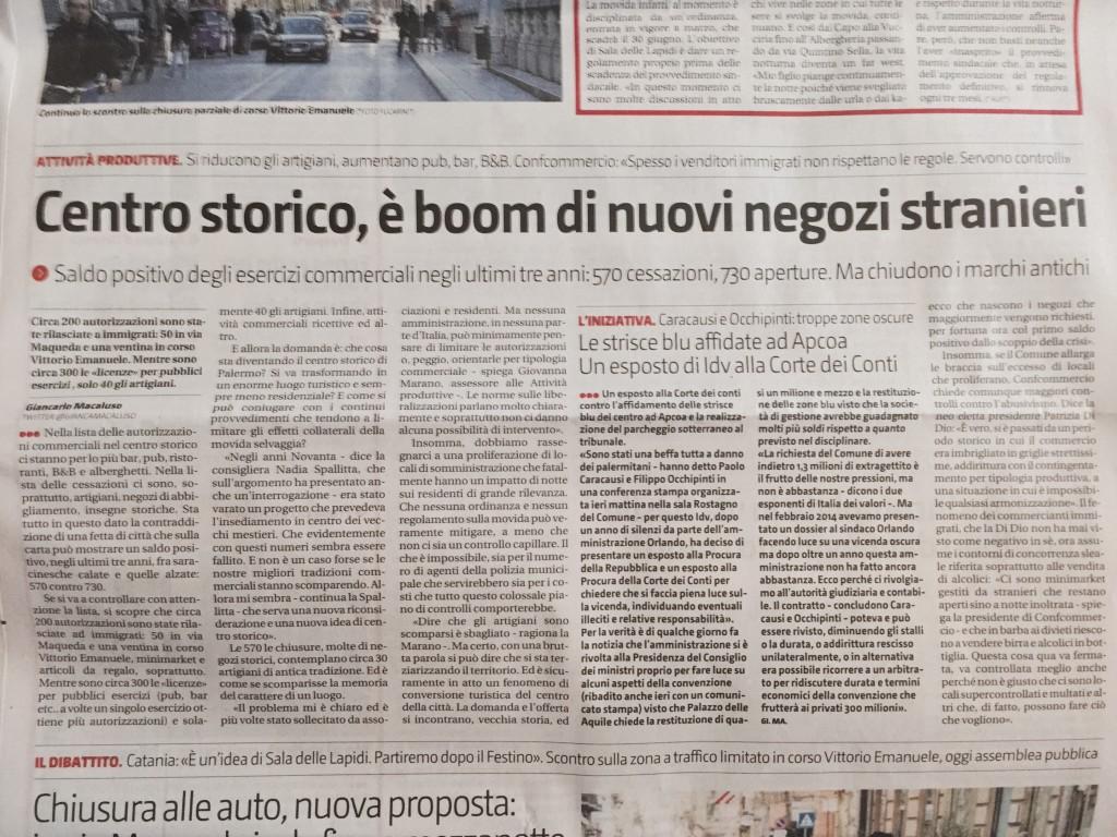 Giornale di Sicilia Boom negozi nel centro storico