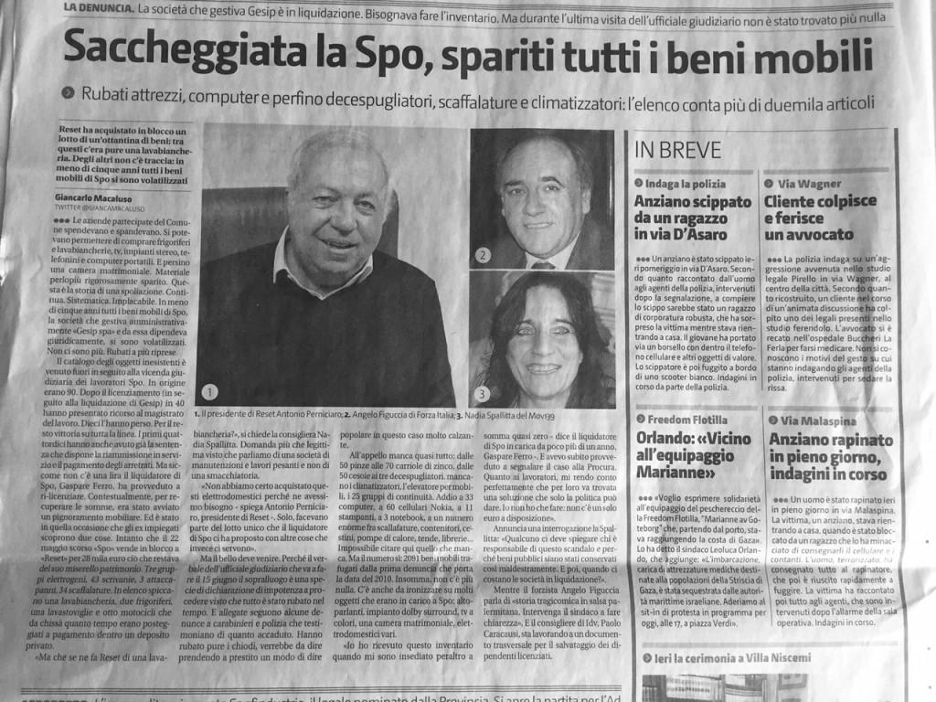 Giornale di Sicilia su furto mobili Spo 30 giugno 2015