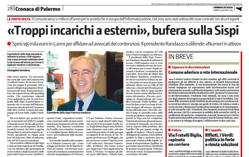 Articolo Sispi giornale di sicilia